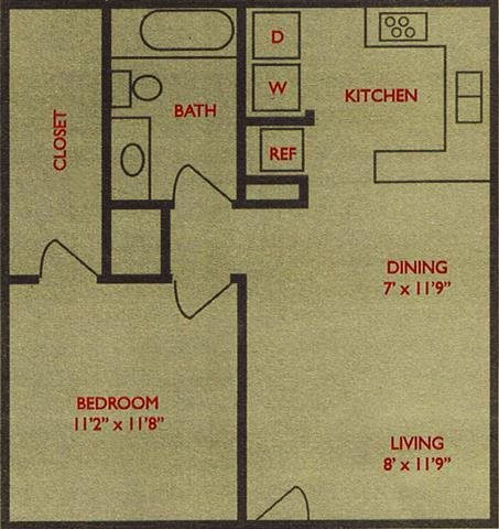 623 sq. ft. Pin Oak floor plan
