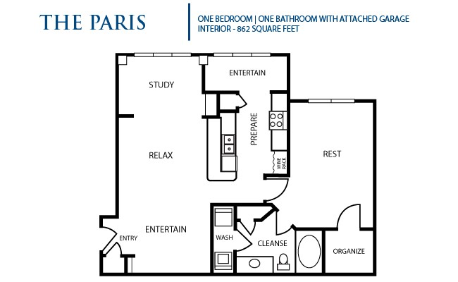 862 sq. ft. Paris floor plan