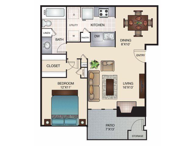 705 sq. ft. B/B1 floor plan