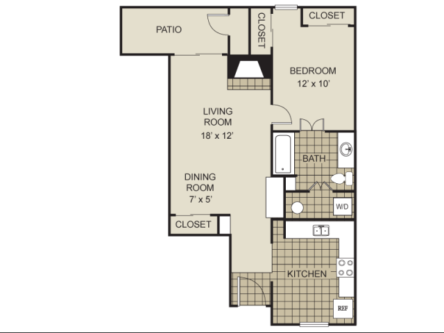 702 sq. ft. A4-C floor plan
