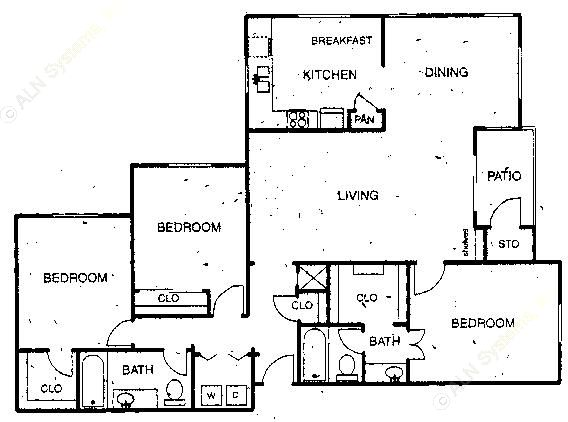 1,493 sq. ft. C1 floor plan