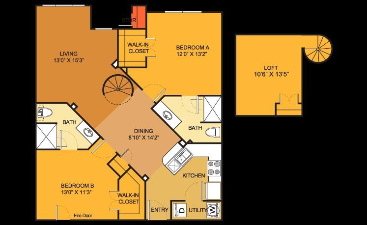 1,030 sq. ft. B6 floor plan