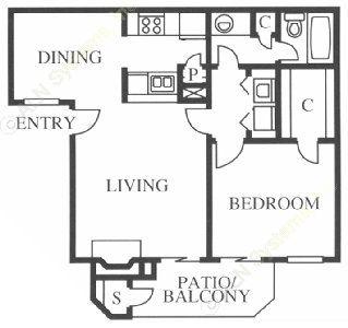 678 sq. ft. Lark floor plan