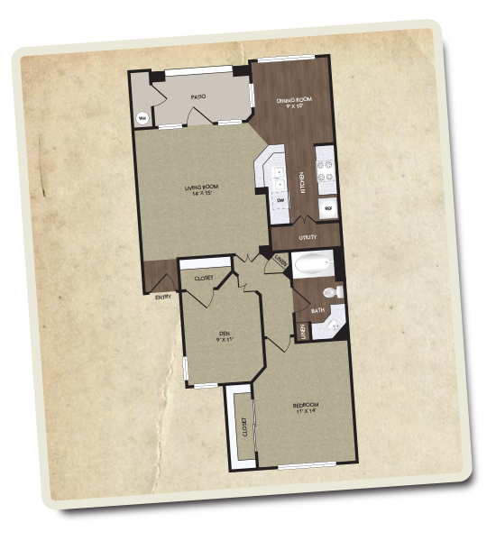 894 sq. ft. Lancaster floor plan