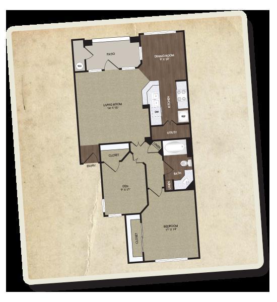 894 sq. ft. Lancaster floor plan