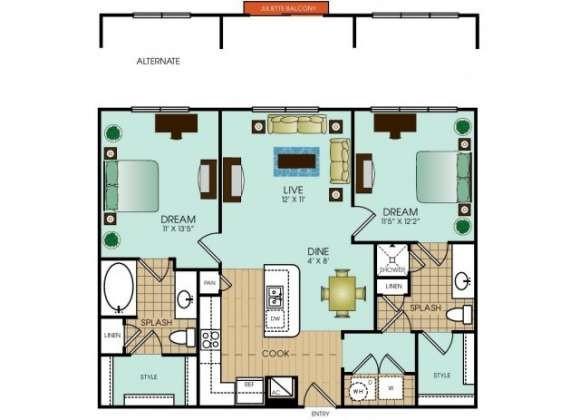 1,021 sq. ft. B3 floor plan
