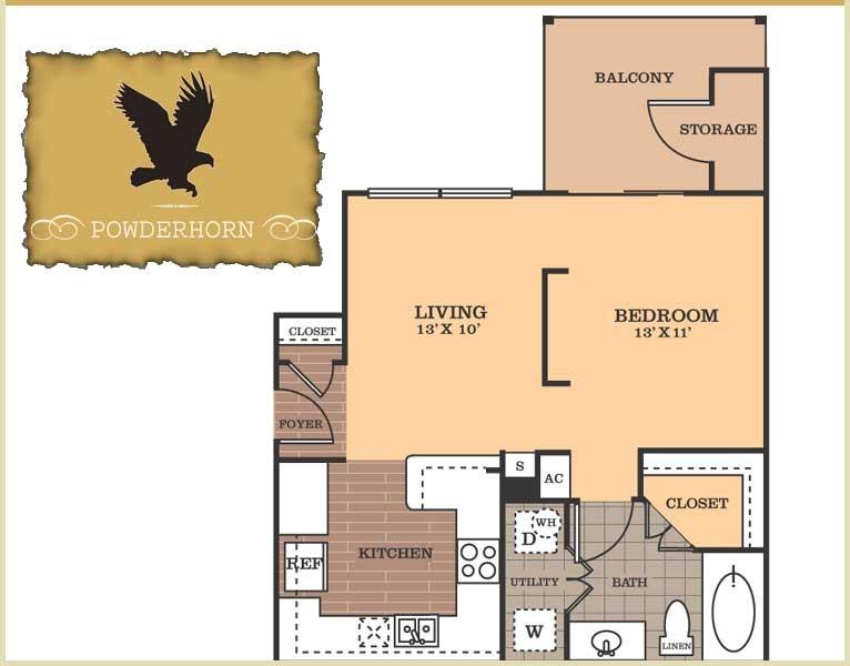 600 sq. ft. Powderhorn floor plan
