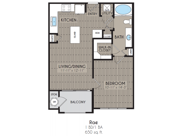 650 sq. ft. Rae floor plan