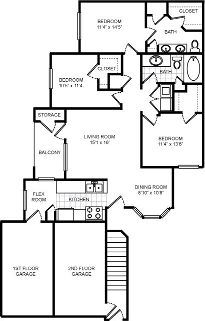 1,363 sq. ft. Wondward floor plan
