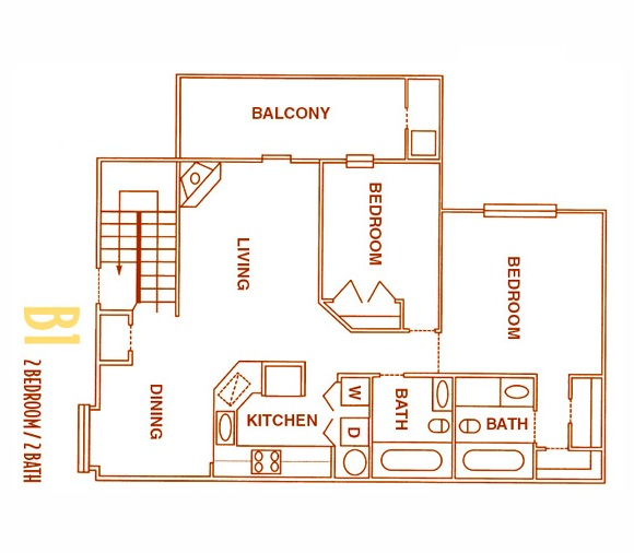 975 sq. ft. B1 - B1U floor plan