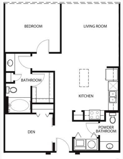 908 sq. ft. to 1,112 sq. ft. A2 floor plan
