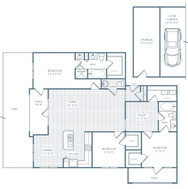 1,719 sq. ft. I1 Weber floor plan