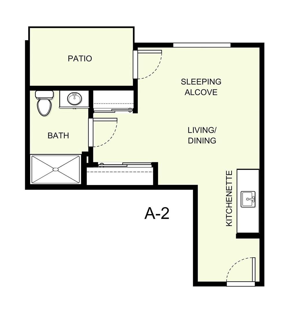 379 sq. ft. A2 floor plan