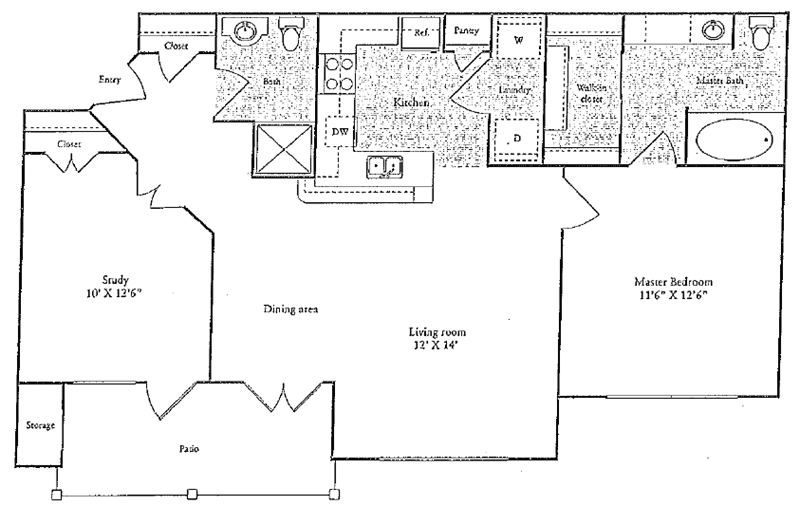 920 sq. ft. C floor plan