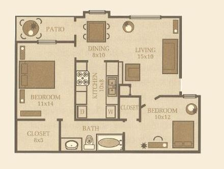 815 sq. ft. Oak floor plan