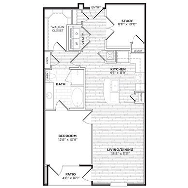 954 sq. ft. A6 floor plan