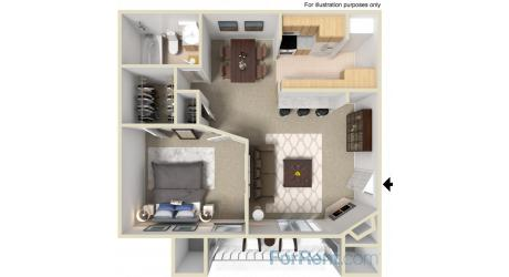 700 sq. ft. D floor plan
