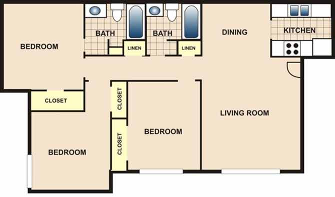 1,010 sq. ft. C1 floor plan
