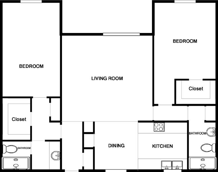 1,095 sq. ft. B2 floor plan