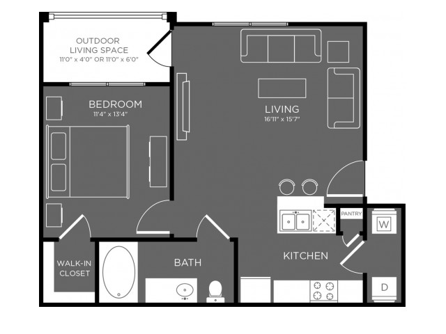 652 sq. ft. Brush floor plan