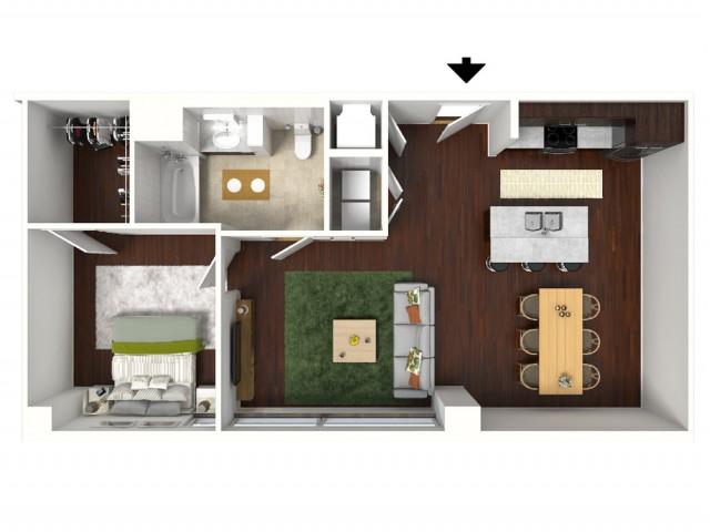 800 sq. ft. Indigo floor plan