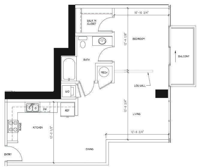 757 sq. ft. CHIHULY floor plan