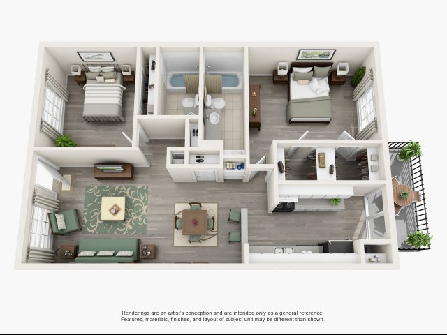 1,050 sq. ft. B floor plan