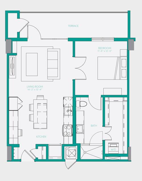 729 sq. ft. A1.11 floor plan