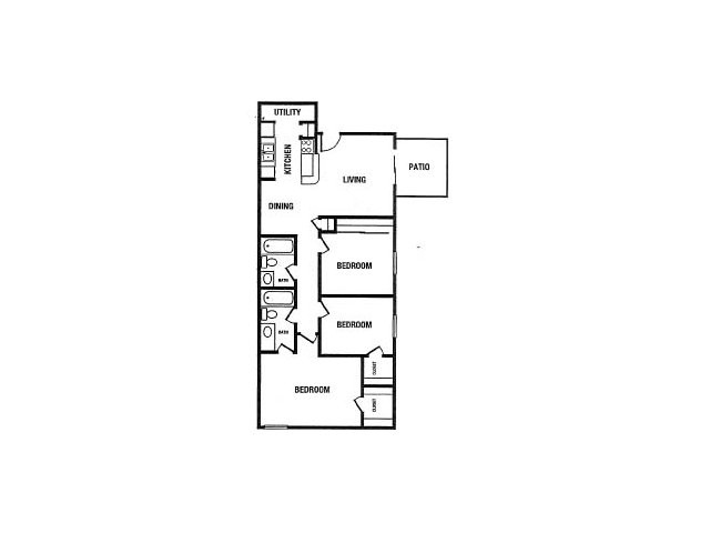 1,037 sq. ft. C1 floor plan