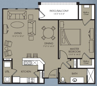 883 sq. ft. Blazar floor plan