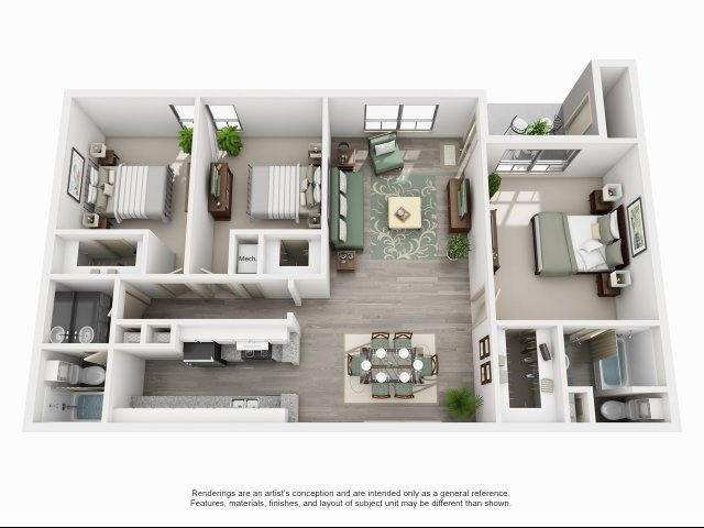 1,438 sq. ft. C1 floor plan