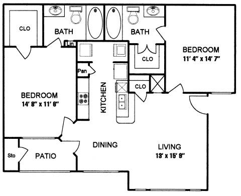 910 sq. ft. to 1,027 sq. ft. DUNSTAN II floor plan