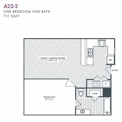 711 sq. ft. A22-2 floor plan