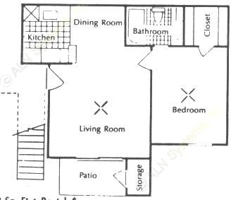 548 sq. ft. A floor plan