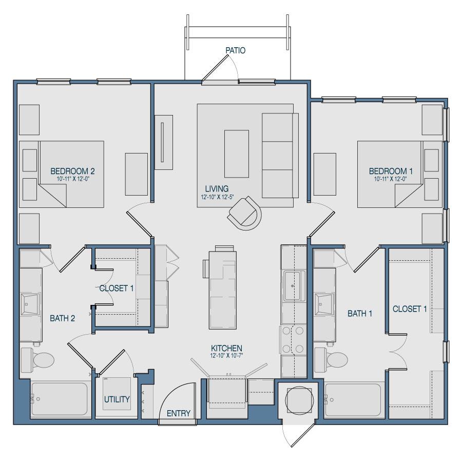 1,006 sq. ft. B3 floor plan