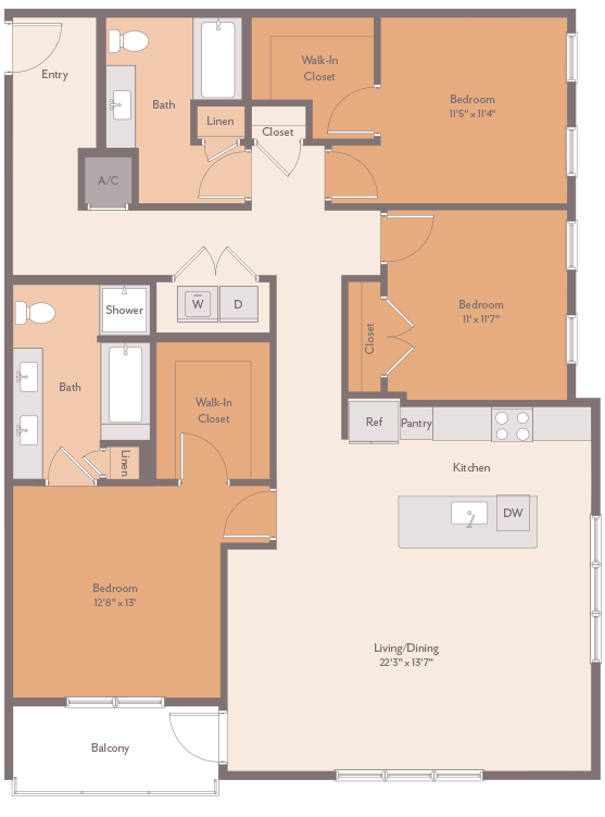 1,625 sq. ft. Olympia-C1 floor plan