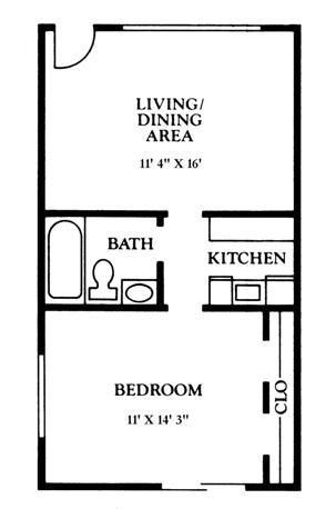 561 sq. ft. A2 floor plan