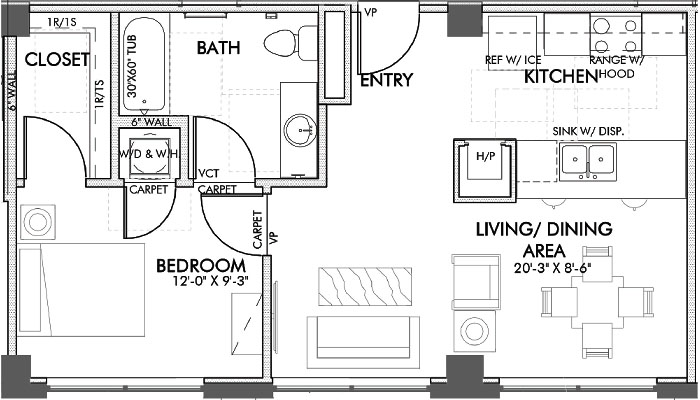 632 sq. ft. Lamar 60% floor plan