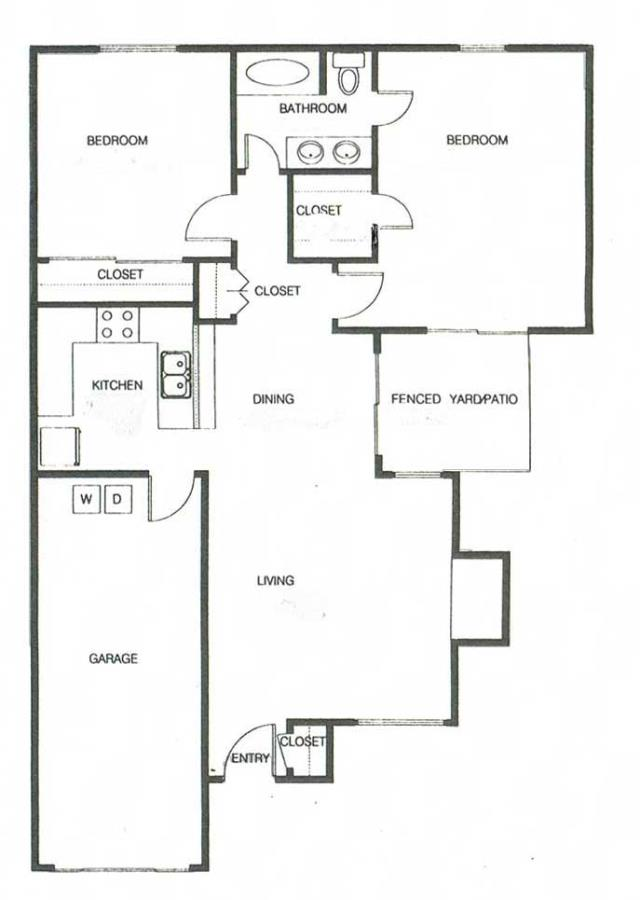 1,115 sq. ft. B1A floor plan