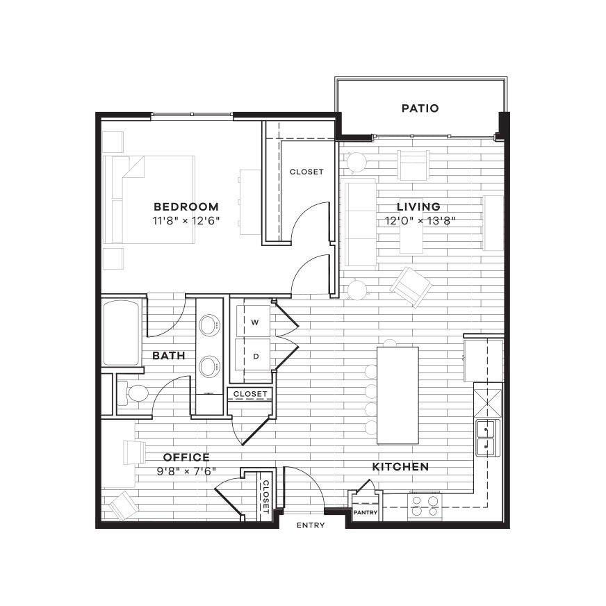 884 sq. ft. 1CS floor plan