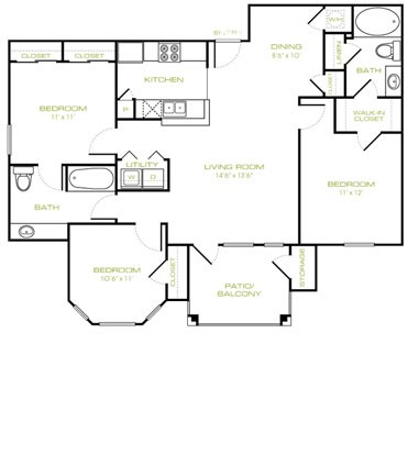 1,157 sq. ft. C floor plan