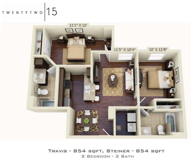 854 sq. ft. TRAVIS/STEINER floor plan