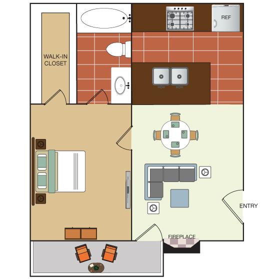 600 sq. ft. floor plan