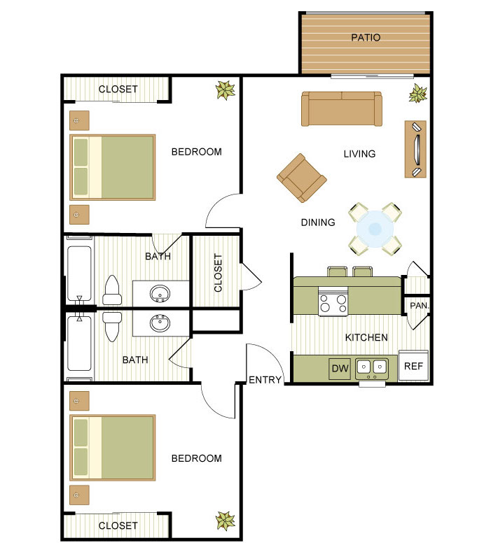 1,067 sq. ft. TH floor plan