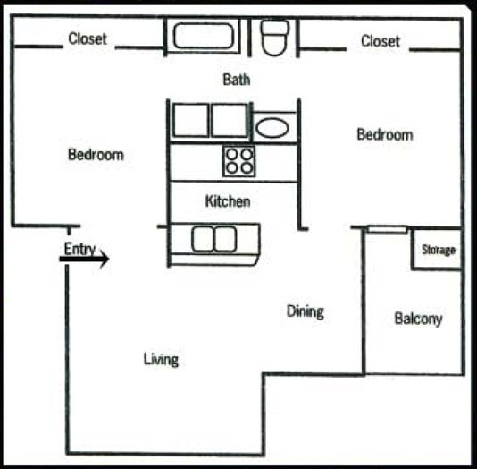 740 sq. ft. B1 floor plan