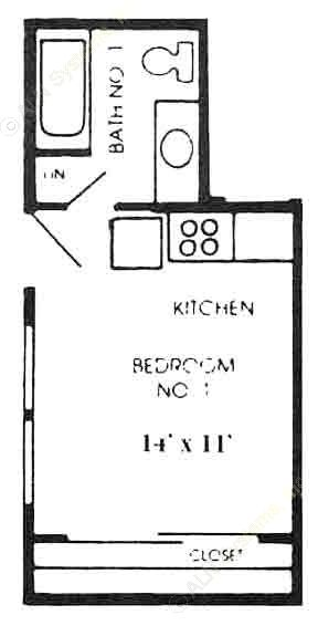 300 sq. ft. A1 floor plan