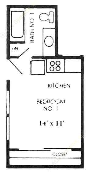 300 sq. ft. A1 floor plan