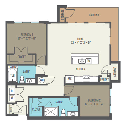 1,265 sq. ft. B4 floor plan