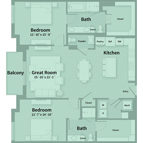 1,577 sq. ft. D2 floor plan
