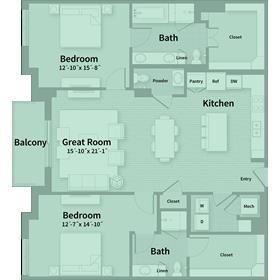 1,577 sq. ft. D2 floor plan